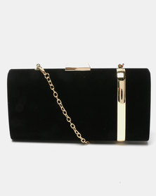 Blackcherry Bag Gold Striped Clutch Black