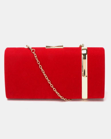 Blackcherry Bag Gold Striped Clutch Red