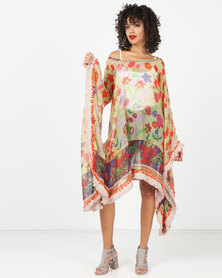 Antica Sartoria Red Printed Long Sleeve Flared Dress Multi