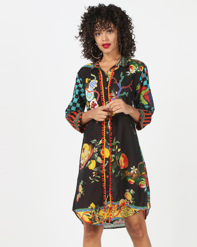 Antica Sartoria Black Base Print Maxi Dress Multi
