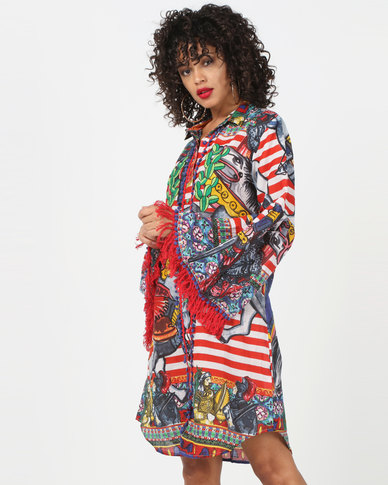 Antica Sartoria Print Flared Sleeve Dress Multi