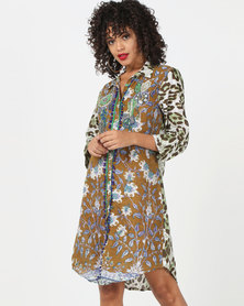 Antica Sartoria Animal Print Dress Multi