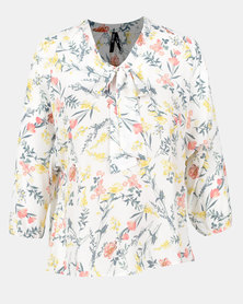 Me-A-Mama Bow Blouse Floral