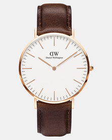 Daniel Wellington Men Classic Bristol 40mm Watch DW00100009 Rose Gold-plated