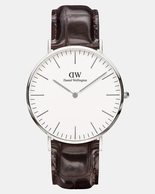 Daniel Wellington Men Classic York 40mm Watch DW00100025 Silver-plated