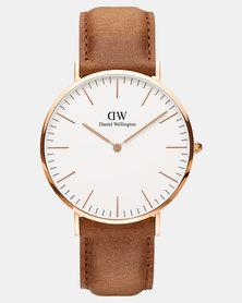 Daniel Wellington Men Classic Durham 40mm Watch DW00100109 Rose Gold-plated
