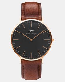 Daniel Wellington Men Classic Black St Mawes 40mm Watch DW00100124 Rose Gold-plated