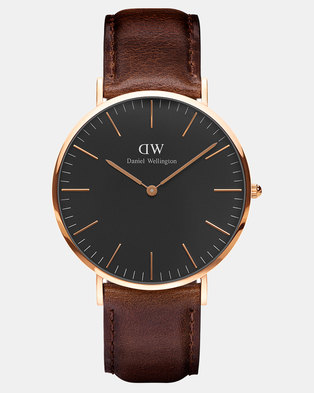 Daniel Wellington Men Classic Black Bristol 40mm Watch DW00100125 Rose Gold-plated