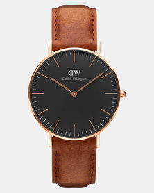 Daniel Wellington Men Classic Black Durham 40mm Watch DW00100126 Rose Gold-plated