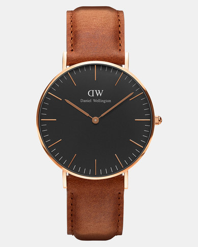 Daniel Wellington Men Classic Black Durham 40mm Watch DW00100126 Rose Gold-plated