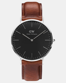 Daniel Wellington Men Classic Black St Mawes 40mm Watch DW00100130 Silver-plated