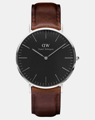 Daniel Wellington Men Classic Black Bristol 40mm Watch DW00100131 Silver-plated