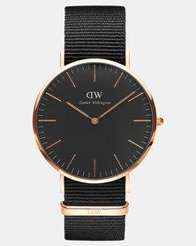 Daniel Wellington Men Classic Cornwall 40mm Watch Black/Rose Gold