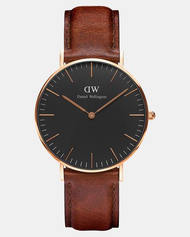 Daniel Wellington Women Classic Black St Mawes 36mm Watch DW00100136 Rose Gold-plated