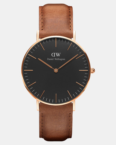 Daniel Wellington Women Classic Black Durham 36mm DW00100138 Rose Gold-plated