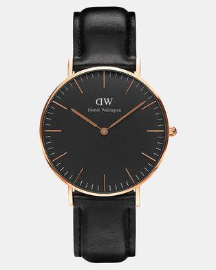 Daniel Wellington Women Classic Black Sheffield 36mm Watch DW00100139 Rose Gold-plated