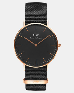 cc93dd4c2d7c Daniel Wellington Women Classic Black Cornwall 36mm Watch DW00100150 Rose  Gold-plated