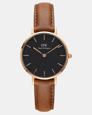 e674480c3e93 Daniel Wellington Women Classic Petite Durham Black 28mm Watch DW00100222 Rose  Gold-plated