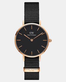 Daniel Wellington Women Classic Petite Cornwall Black 28mm Watch DW00100247 Rose Gold-plated