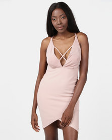 Sissy Boy Deep V-neck Bodycon Dress Nude