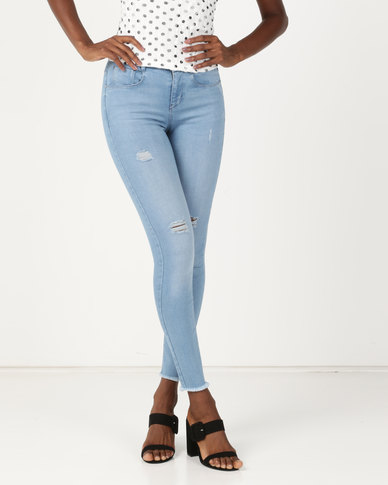 Sissy Boy Axel Mid Rise With Rip & Repair Skinny Jeans Med Blue