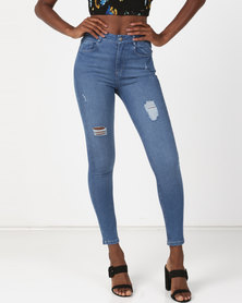 Sissy Boy Ryder High Rise With Rip & Repair Skinny Jeans Sky Blue