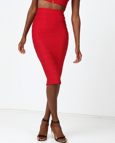 Sissy Boy Boity Slinky Midi Skirt Red