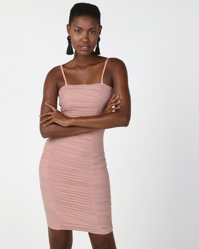 Sissy Boy Boity Square Neck With Mesh Detail Midi Dress Nude