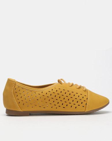 City Style by Jada Brush Nubuck Lace Up Flats Mustard