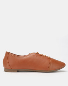City Style by Jada Smooth Lace Up Flats Tan