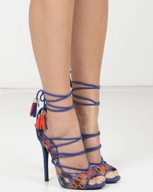 MHNY by Madison Cheryl Tribal Heeled Sandals Cobalt Multi