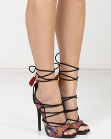 MHNY by Madison Cheryl Tribal Heeled Sandals Black Multi