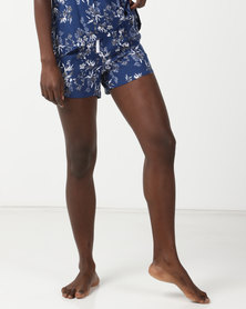 Bella G Floral Printed Shorts Blue