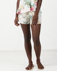 Bella G Floral Printed Shorts White