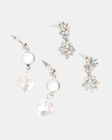 Queenspark Flower & Crystal Drop Earrings Soft Pink