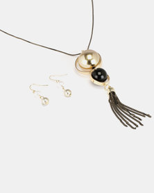 Queenspark Shimmery Chain and Gong Tassel Set Gold-tone