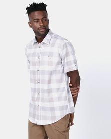 JCrew Short Sleeve Check Shirt Stone