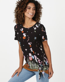 cath.nic By Queenspark Floral Printed Knit With Front Knot Top Multi