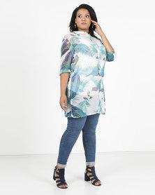 Queenspark Plus Leaf Print Long Woven Shirt Aqua