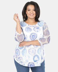 Queenspark Plus Circles Layered Knit Top White
