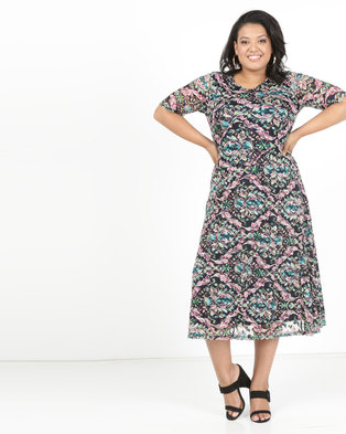 Queenspark Plus Short Sleeve Asymetric Panelled Printed Glamour Knit Dress Navy
