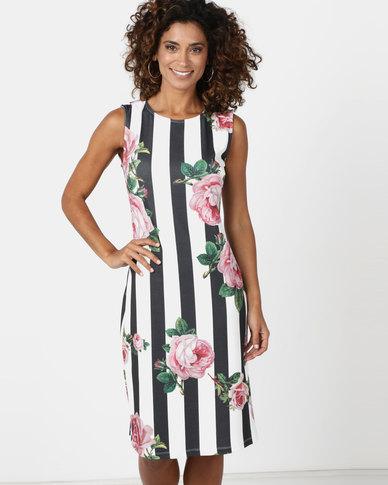 Queenspark Stripe & Rose Print Knit Dress White
