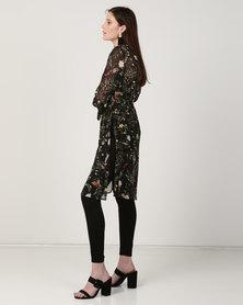 Queenspark Floral Print Woven Jacket Black