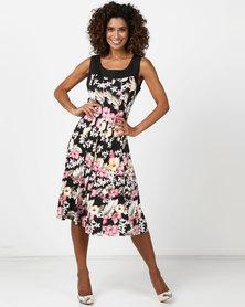 Queenspark Hibiscus Panel Knit Dress Black