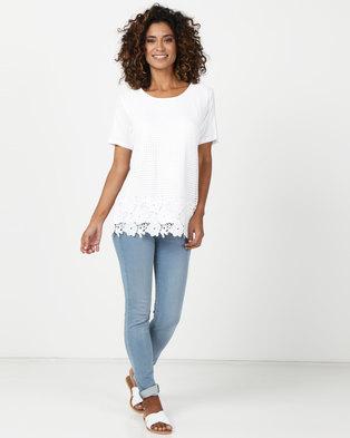 d3e9a29f2920 Queenspark Crochet Lace Front Core Knit Top White