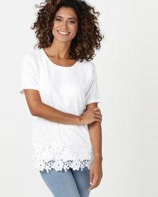 Queenspark Crochet Lace Front Core Knit Top White