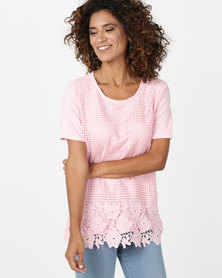 Queenspark Crochet Lace Front Core Knit Top Pink