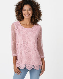 Queenspark Tropical Lace 3/4 Sleeve Fashion Knit Top Pink
