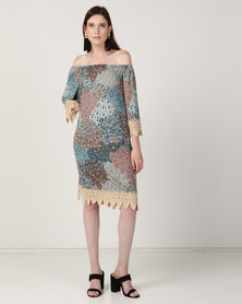 Queenspark Lace Peacock Printed Fashion Knit Tunic Top Turquoise