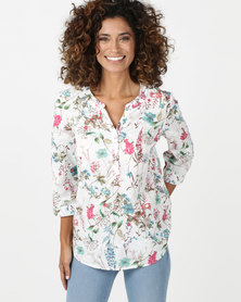 Queenspark Embroidery Anglaise 3/4 Sleeve Woven Shirt Multicoloured